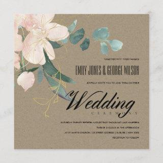 RUSTIC BLUSH FLORAL KRAFT BUNCH WATERCOLOR WEDDING INVITATION