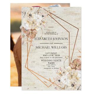 Rustic Blush Geometric Watercolor Floral Photo Invitation