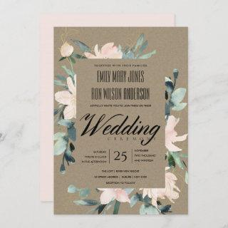RUSTIC BLUSH GOLD KRAFT FLORAL WATERCOLOR WEDDING Invitations