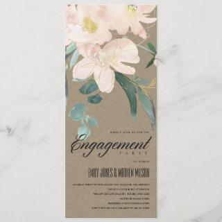 RUSTIC BLUSH KRAFT FLORAL WATERCOLOR ENGAGEMENT INVITATION
