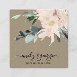 RUSTIC BLUSH KRAFT FLORAL WEDDING WEBSITE RSVP SQUARE BUSINESS CARD