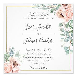 Rustic Blush Pink Floral Eucalyptus Gold Wedding Invitation
