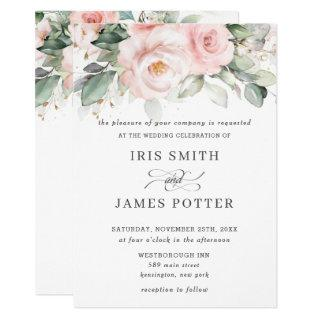 Rustic Blush Pink Floral Roses Greenery Wedding Invitations