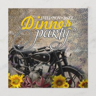 Rustic Bohemian Sunflower Motorbike Dinner Party Invitation