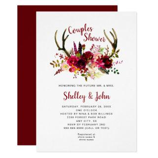 Rustic Boho Antler Burgundy Floral Couples Shower Invitations