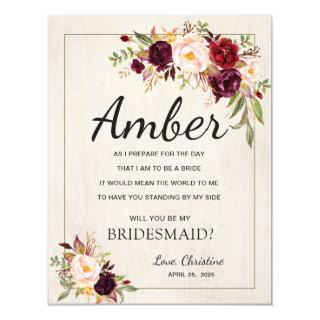 Rustic Boho Chic Watercolor Be My Bridesmaid Cards