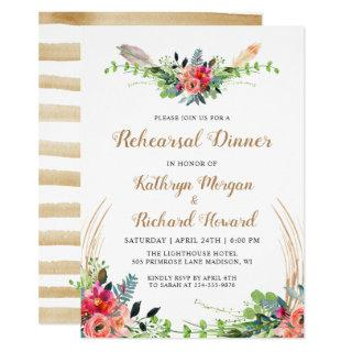 Rustic Boho Country Floral Garden Rehearsal Dinner Invitations