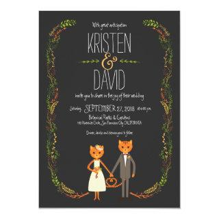 Rustic Boho Forest Cats Wedding Invitation