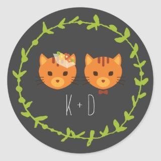 Rustic Boho Forest Cats Wedding  Classic Round Sticker