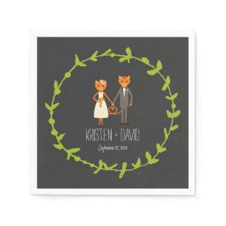 Rustic Boho Forest Cats Wedding Invitation Napkins