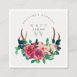 Rustic Boho Red Floral Stag Antlers Monogram Square Business Card