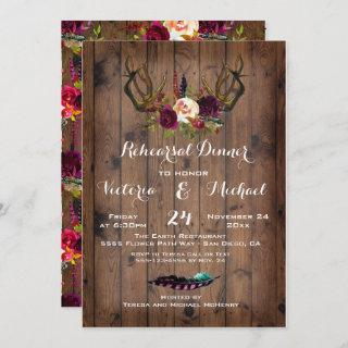 Rustic Boho Rehearsal Dinner with floral Antlers Invitation