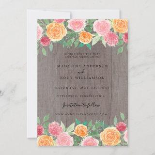 Rustic Boho Roses on Wood Photo Save the Date