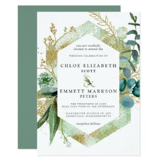 Rustic Boho Teal Blue Botanical Gold Wedding Invitations