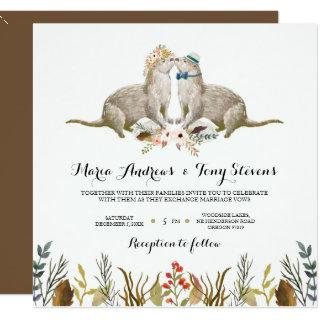 Rustic Boho Woodland Otter Watercolor Wedding Invitation