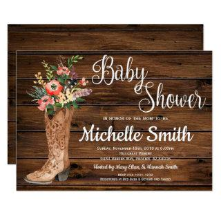 Rustic Boot Country Bridal Western Baby Shower Invitations