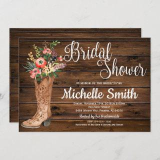 Rustic Boot Country Bridal Western Bridal Shower Invitations