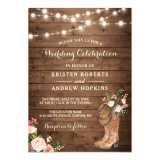 Rustic Boots Cowboy Cowgirl Floral Lights Wedding Invitations