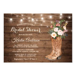 Rustic Boots Floral String Lights Bridal Shower Invitations
