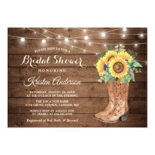 Rustic Boots String Lights Sunflower Bridal Shower Invitation