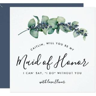Rustic Botanical Will You be My Maid of Honor Card