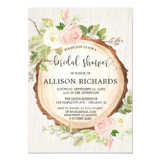 Rustic bridal shower blush pink forest woods Invitations