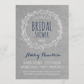 Rustic Bridal Shower Invitations in Gray and Navy