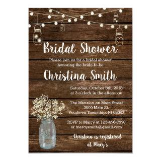 Rustic Bridal Shower Invitations with Mason Jars