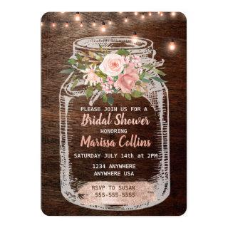 Rustic Bridal Shower, Mason Jar Lights Boho Floral Invitation