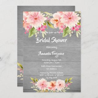 Rustic bridal Shower peach dahlia flowers brown Invitation