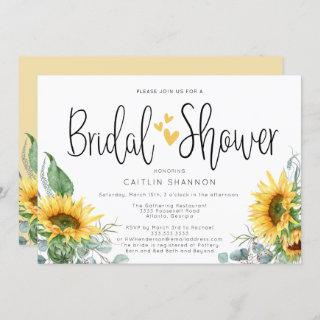 Rustic Bridal Shower Sunflower with Yellow Hearts