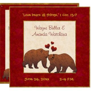 Rustic Brown Bears Country Wedding Red Monogrammed Invitation