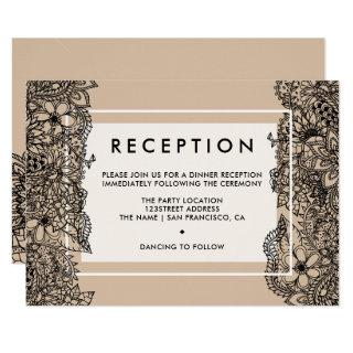 Rustic brown beige chic floral reception wedding Invitations