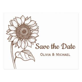 Rustic Brown Country Sunflower Engagement Floral Postcard