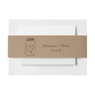 Rustic Brown Kraft Paper Pattern Mason Jar Heart Invitations Belly Band