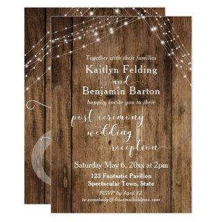 Rustic Brown & Lights Post-Wedding Reception Only Invitations