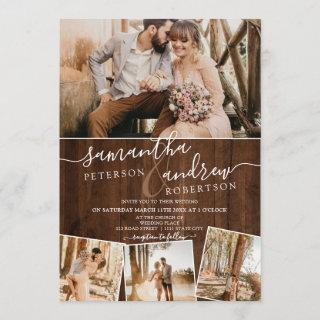 Rustic brown wood chic script 5 photos wedding invitation