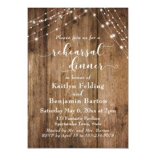 Rustic Brown Wood & Light Strings Rehearsal Dinner Invitations