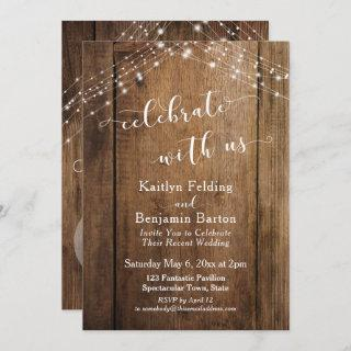 Rustic Brown Wood & Lights Celebrate with Us Invitations