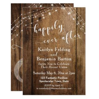 Rustic Brown Wood & Lights Happily Ever After Invitations