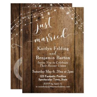 Rustic Brown Wood & Lights Just Married Event Invitations