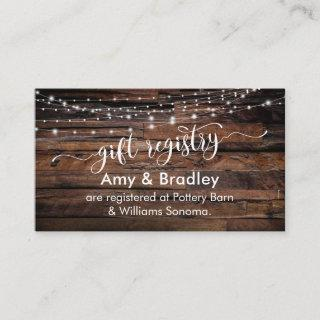 Rustic Brown Wood & Lights, Wedding Gift Registry Enclosure Card