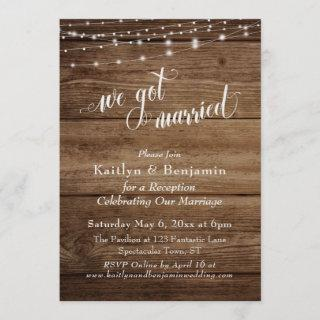 Rustic Brown Wood w/ Lights Wedding Reception Only Invitations