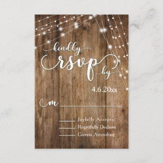 Rustic Brown Wood, White Light Strings RSVP