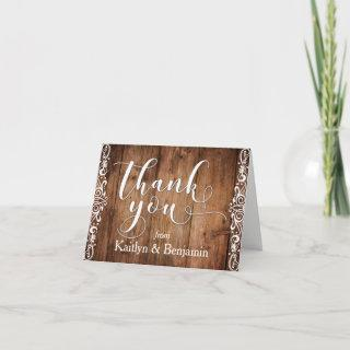 Rustic Brown Wood, White Typography Thank You 1