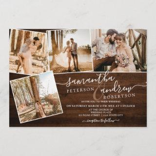 Rustic brown wood winter script 5 photos wedding Invitations