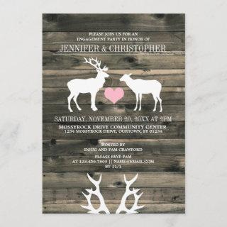 Rustic Buck and Doe Engagement Party Invitations