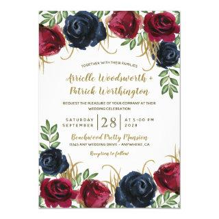 Rustic Burgundy and Navy Blue Wedding Invitations