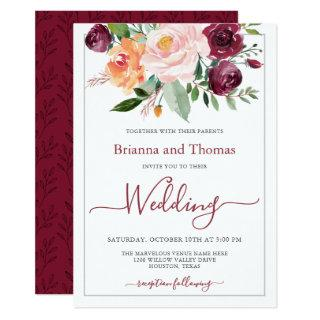 Rustic Burgundy and Pink Floral Bouquet Wedding Invitation