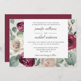 Rustic Burgundy and White Roses Watercolor Wedding Invitations